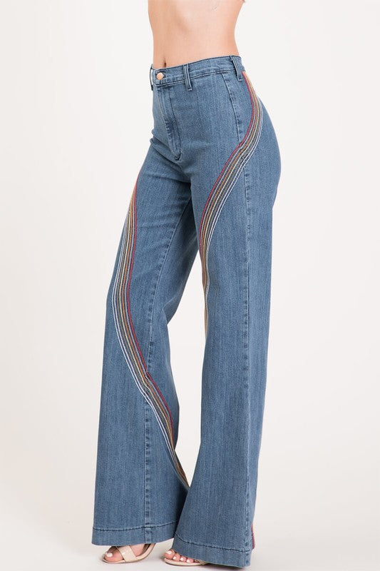 high waisted wide leg rainbow stitched denim