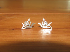 oragami silver plated paper crane stud earrings