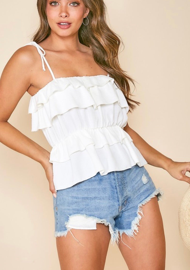 white smock waist tanktop with layers and ribbon tie straps
