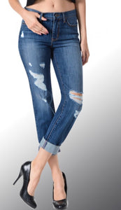 mid rise holes down front skinny jeans