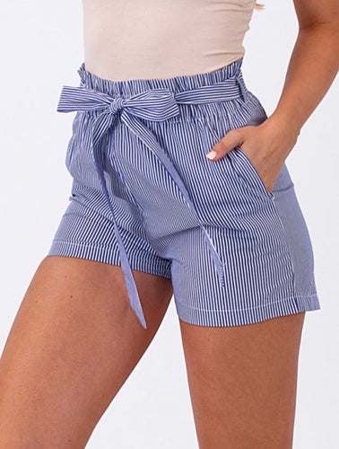 blue white pin stripe cotton shorts paper bag tie waist