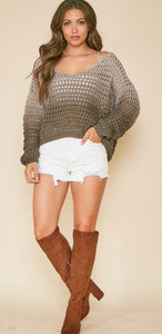 ombre olive eyelet knit oversized sweater