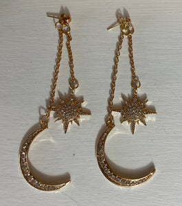 Star Burst Moon Double Danglers