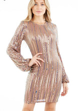 Load image into Gallery viewer, rose gold sequin striped mini bandage dress