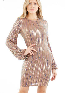 rose gold sequin striped mini bandage dress