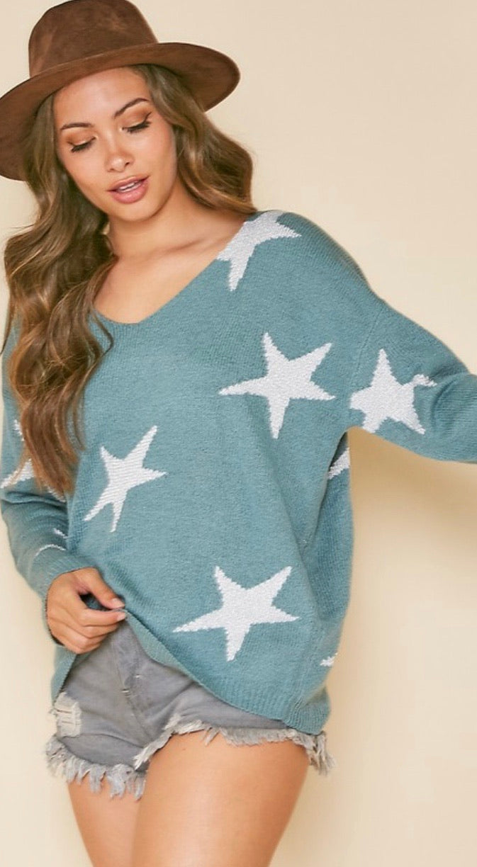 sage sweater silver star print