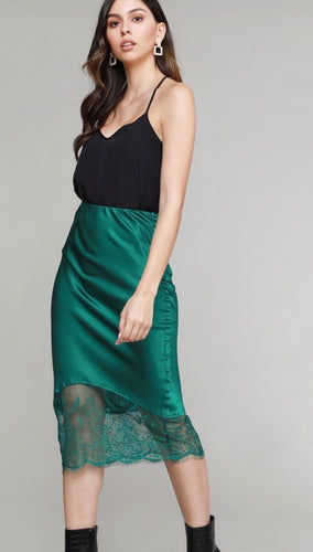 emerald green satin pencil skirt with lace cut out
