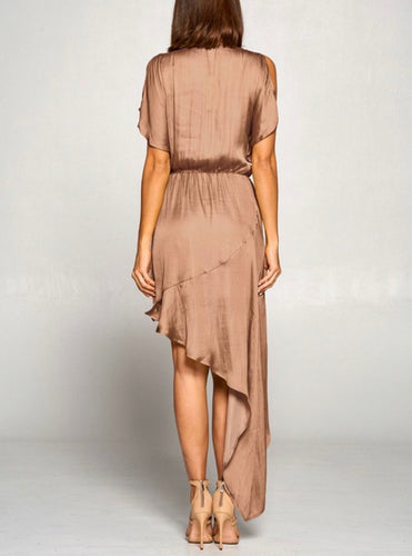 champagne sateen midi asymmetrical dress