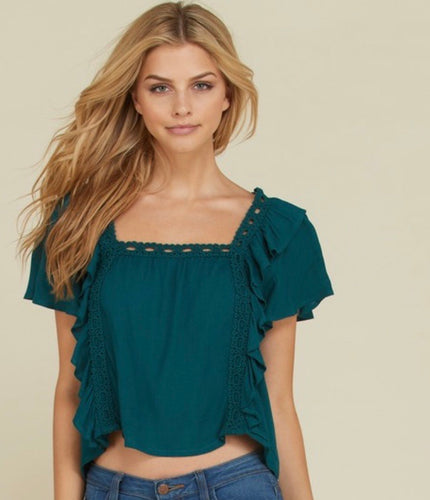 forest green bib style rayon waist top