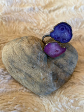Load image into Gallery viewer, purple agate gunmetal ring