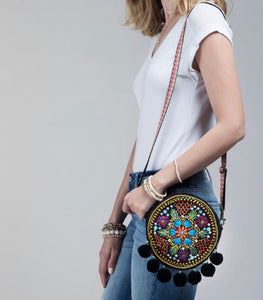 round purse embroidered