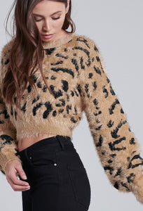 waist length cheetah print eyelash fur sweater