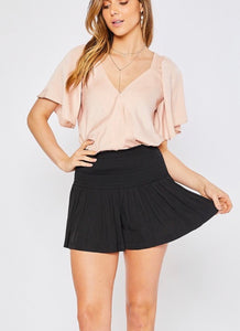 black smock waist straight line mini shorts