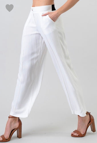 cropped ankle length white pant
