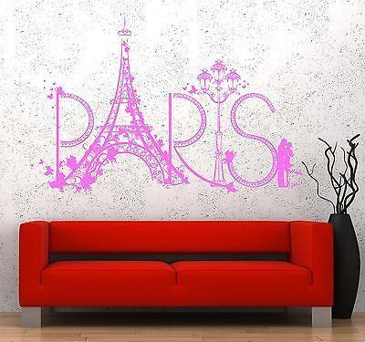 Wall Decal Paris Eiffel Tower France Romantic Love Vinyl Decal