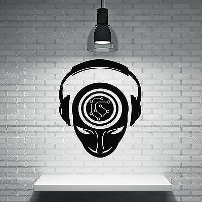 Wall Sticker Music People Headphones Brain Activity Record DJ Vinyl