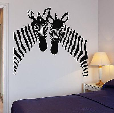 Zebra Wall Stickers Vinyl Decal African Animal Couple Decor Murals