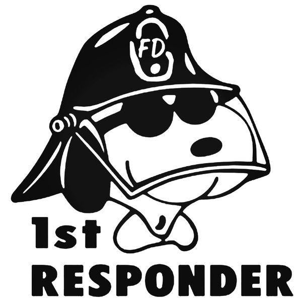 1St Responder Snoopy Firefighter Decal Sticker