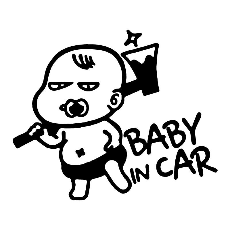 Baby with Axe in Car Decal Sticker
