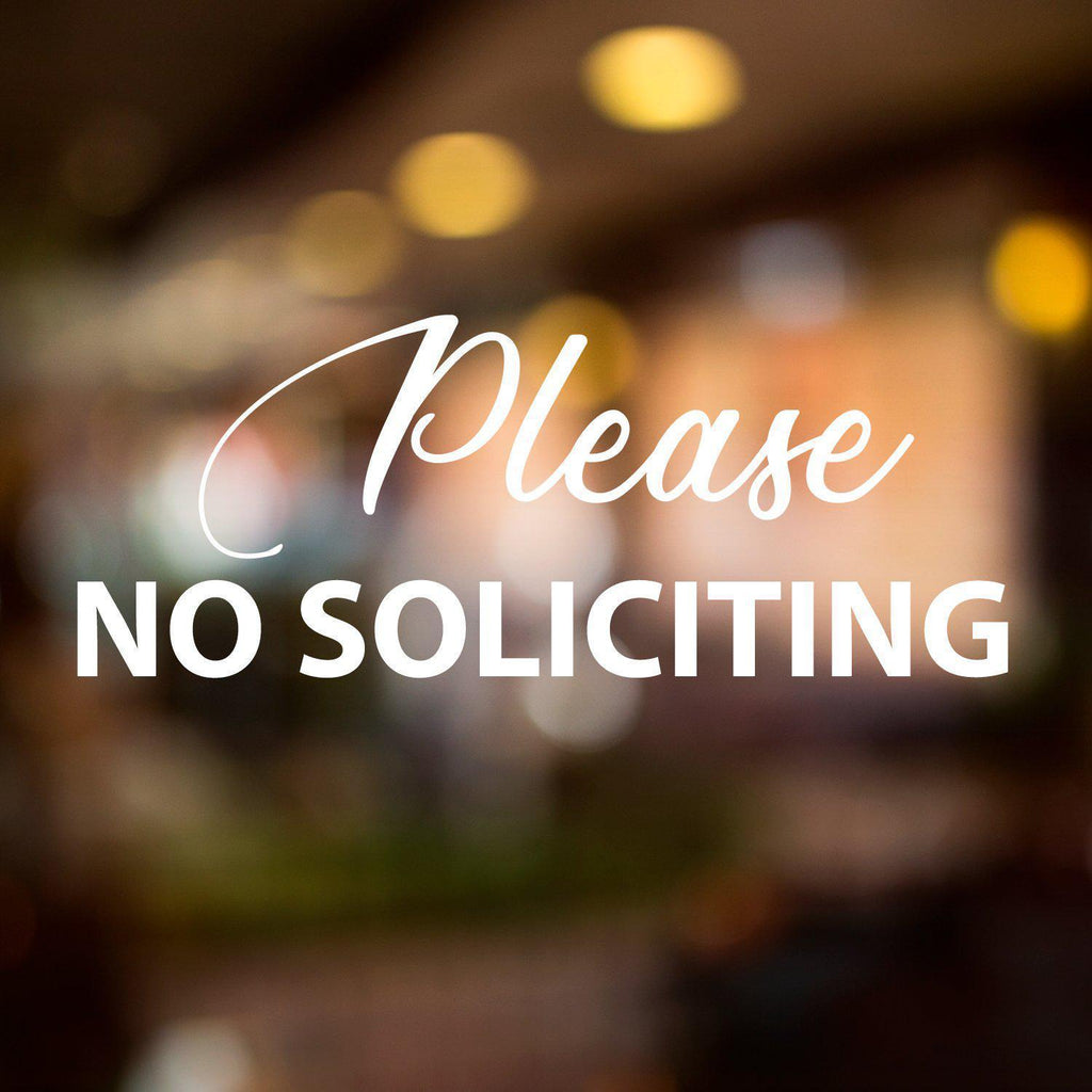 Vinyl Window Lettering Decal - Business - Please No Soliciting - #8011-StickerSquad