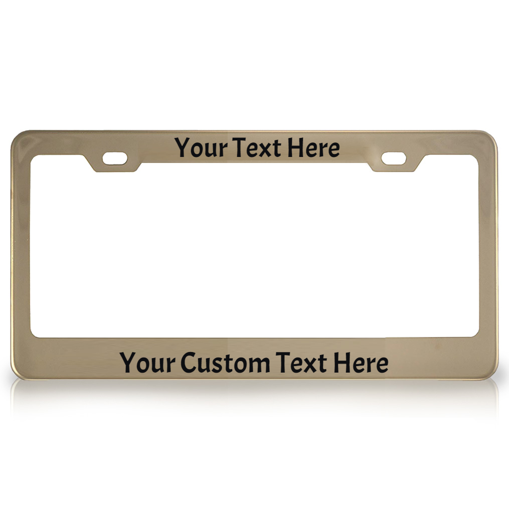 Personalized Gold Chrome Metal License Plate Frame with Vinyl Lettering
