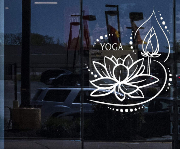 Window Wall Decal Lotus Flower Yoga Meditation Buddhism Stickers
