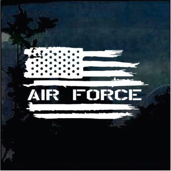 Air Force Weathered American Flag Military Window Decal Stickers