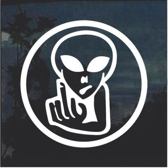 Alien Flip Off Fuck you Decal Sticker