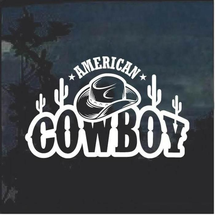 American Cowboy hat and cactus decal sticker