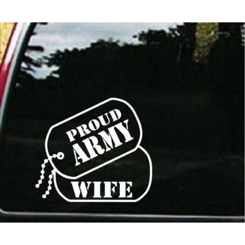 Army Proud Wife Dog Tags Military Window Decal Stickers