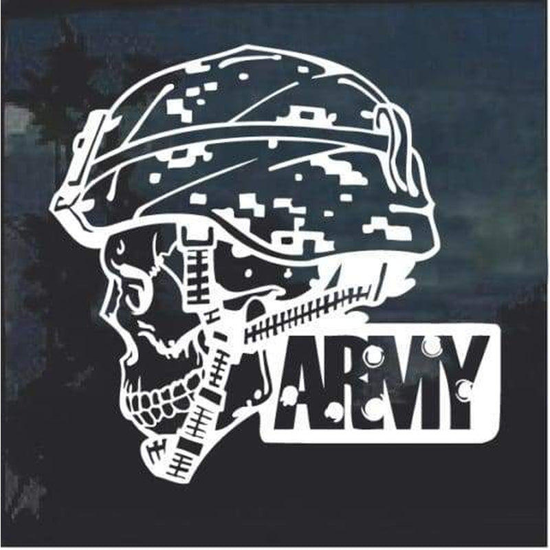 Army Skull Helmet Window Decal Sticker