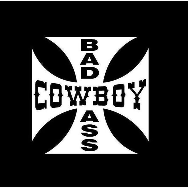 Bad Ass Cowboy Maltese Cross Truck Decal Sticker