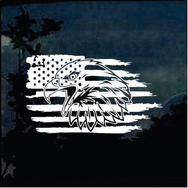 Bald Eagle Weathered American Flag Truck Decal Sticker