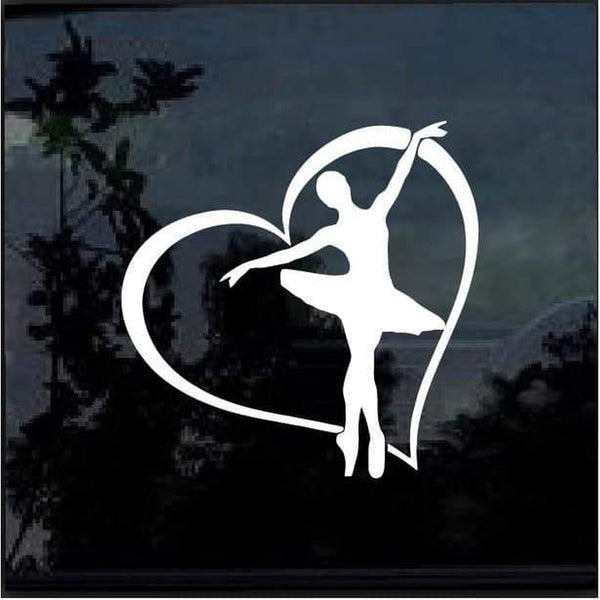 Ballerina Heart Window Decal Sticker
