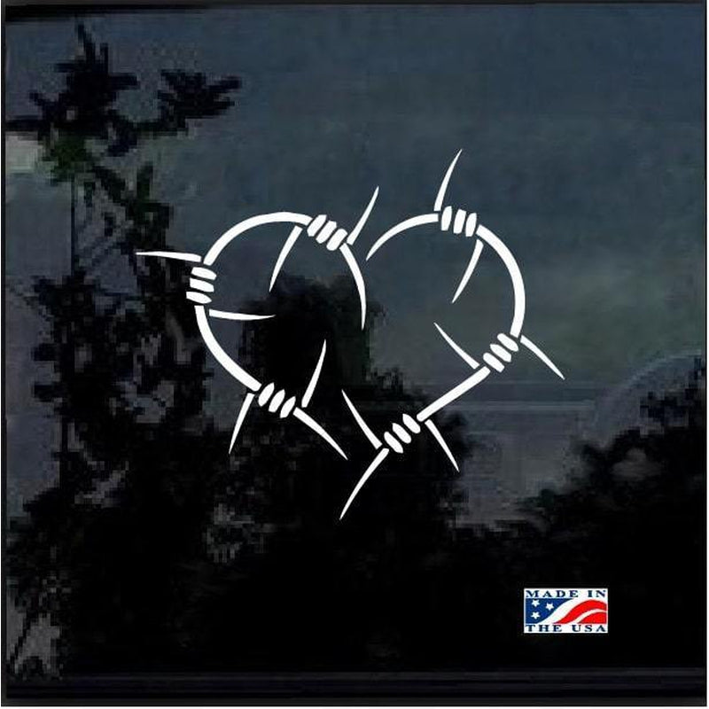 Barb Wire Heart Window Decal Sticker