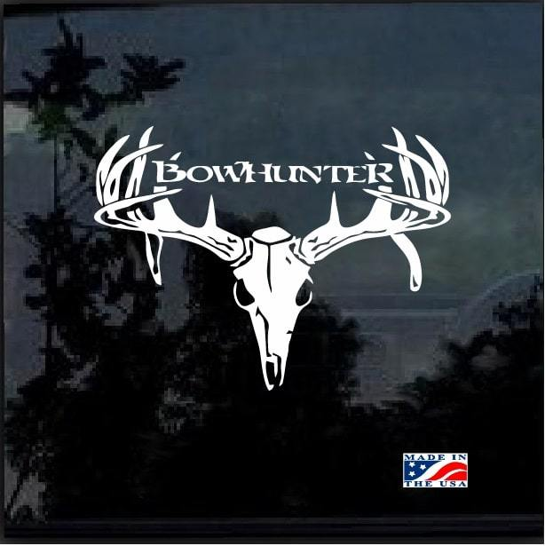 Bow hunter Buck Deer Skull Hunting Window Decal Sticker