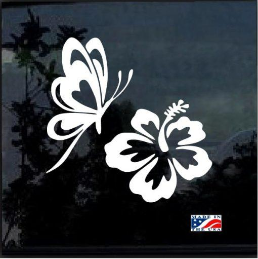 Butterfly & Hibiscus Flower Car Window Decal Sticker