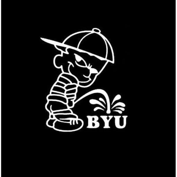 Calvin Piss on BYU Brigham Young University Decal Stickers
