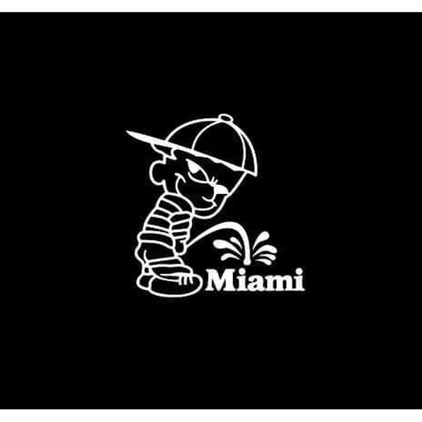 Calvin Piss on Miami Dolphins Decal Stickers