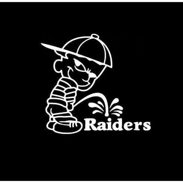 Calvin Piss on New Oakland Raiders Decal Stickers