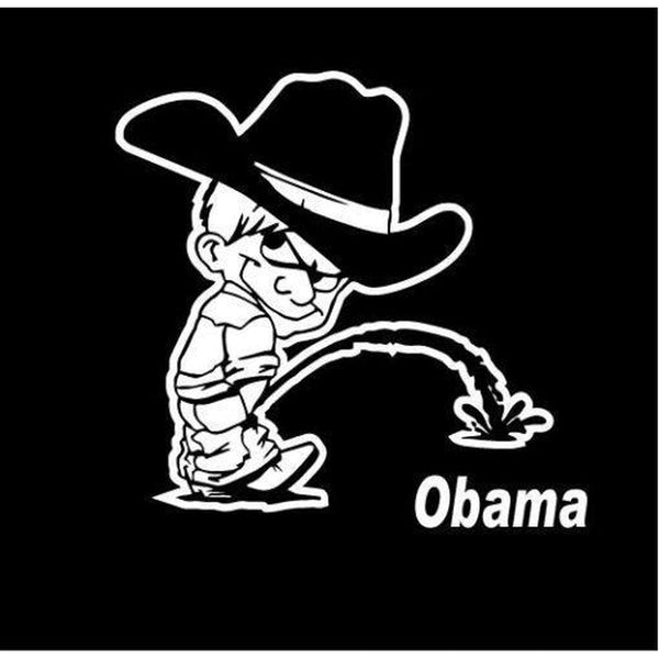 Calvin Piss On Obama Decal Stickers