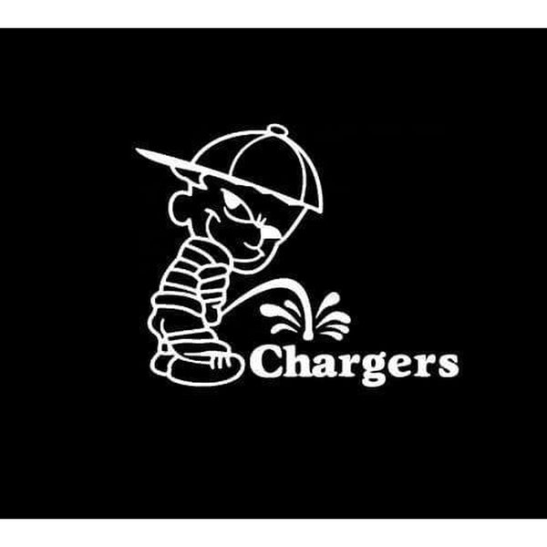 Calvin Piss on San Diego Chargers Decal Stickers