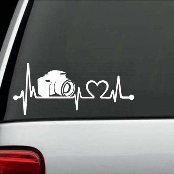 Camera Photographer Heartbeat Love Window Decal Sticker