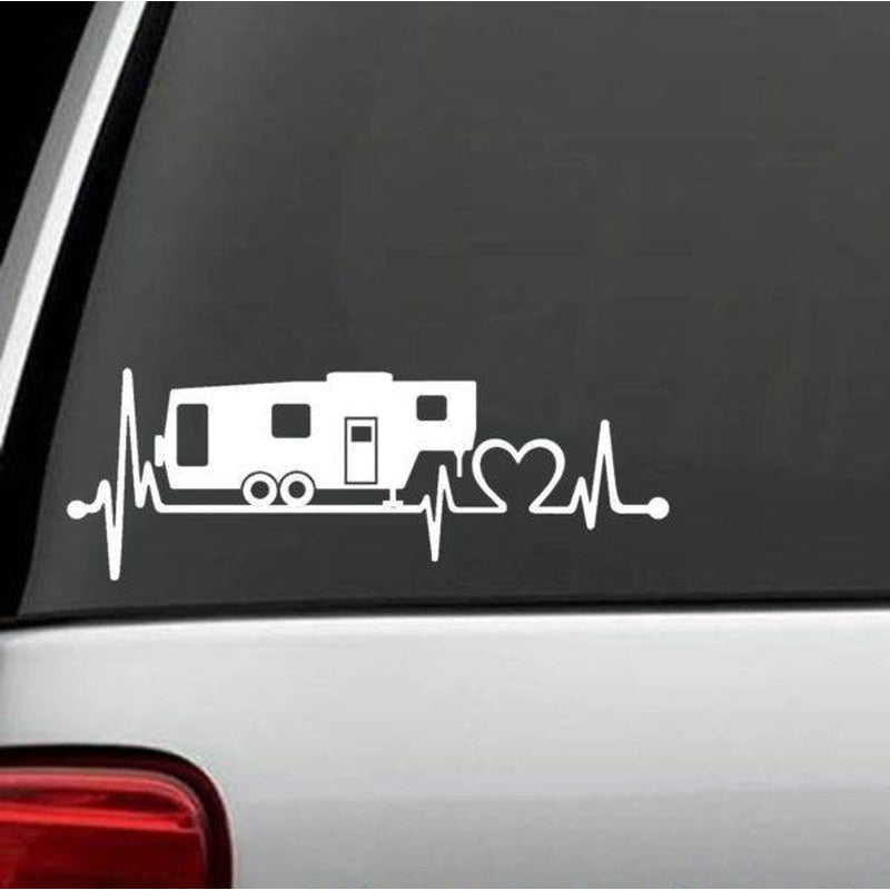 Camper Heartbeat Love Truck Decal Sticker