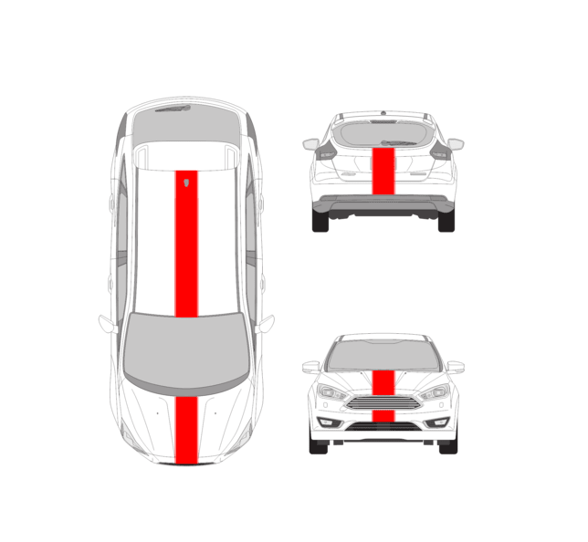 Car Racing Stripe – Ford Focus 10 inch Racing Stripe Decals