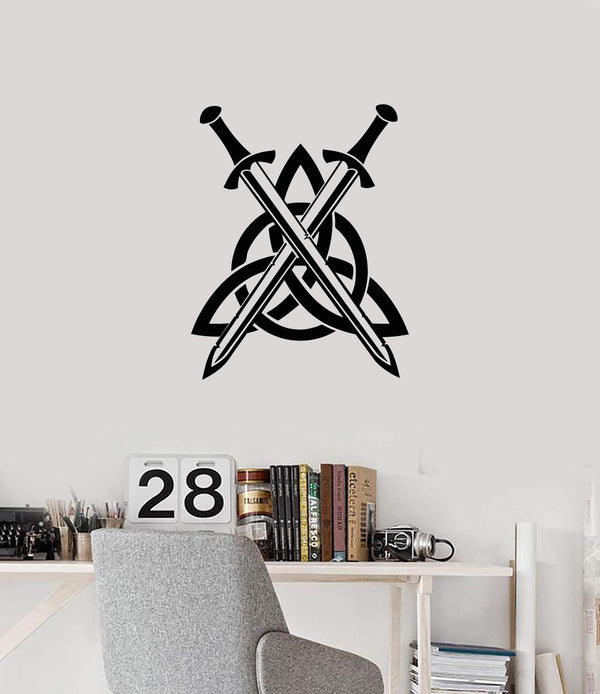 Vinyl Wall Decal Celtic Knot Swords Irish Ireland Art Room Interior