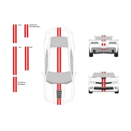 Chevy Camaro 3? wide racing stripe set with 0.25 Pin Stripes TOP STRIPE ONLY 60 Inch
