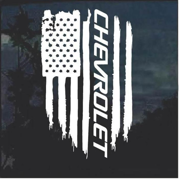 Chevy Chevrolet Weathered Flag Decal Sticker