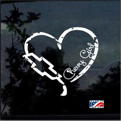 Chevy Girl Heart Distressed Truck Decal Sticker