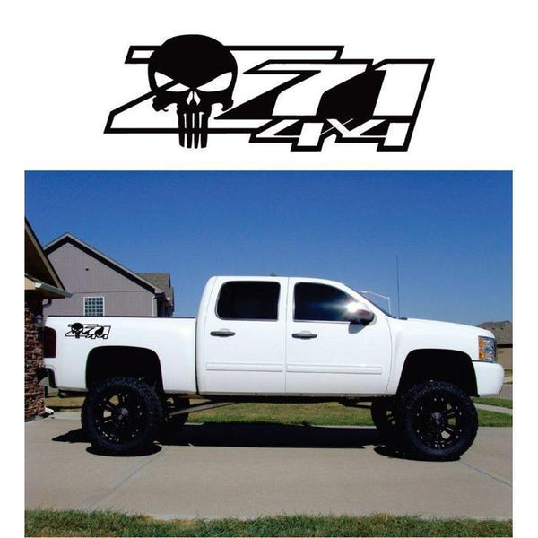 Chevy Z71 z-71 4×4 Punisher Skull Sticker Set of 2 – 4×4 Decals